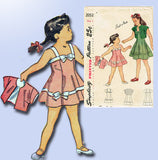 1940s Vintage Simplicity Sewing Pattern 2052 Baby Girls Sun Dress & Bolero Sz 2