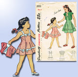1940s Vintage Simplicity Sewing Pattern 2052 Easy Toddler Girls Sun Dress Size 6 - Vintage4me2