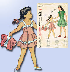 1940s Vintage Simplicity Sewing Pattern 2052 Easy Toddler Girls Sun Dress Size 6