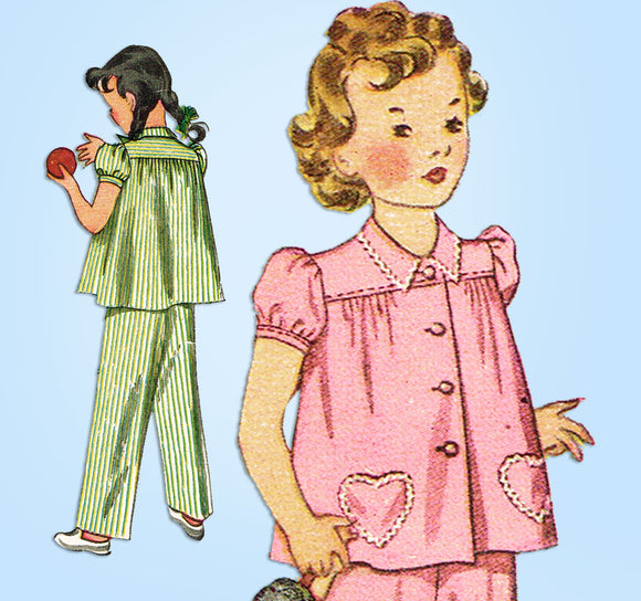 1940s Vintage Simplicity Sewing Pattern 2054 Simple to Make Girls Pajama Size 6 - Vintage4me2