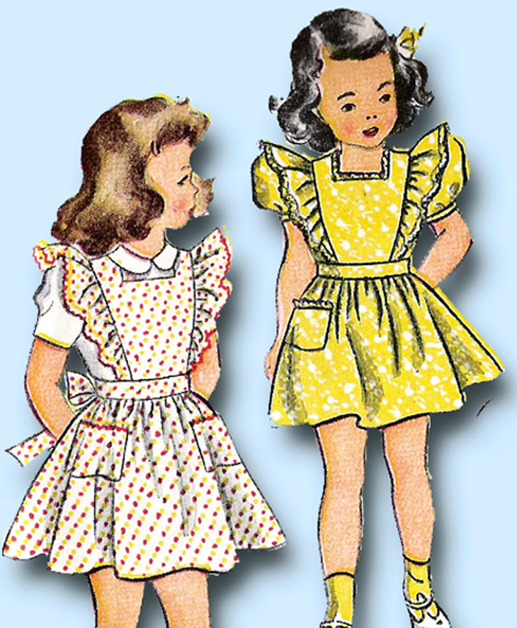1940s VTG Simplicity Sewing Pattern 2056 Uncut Toddler Girls Pinafore Dress Sz 6