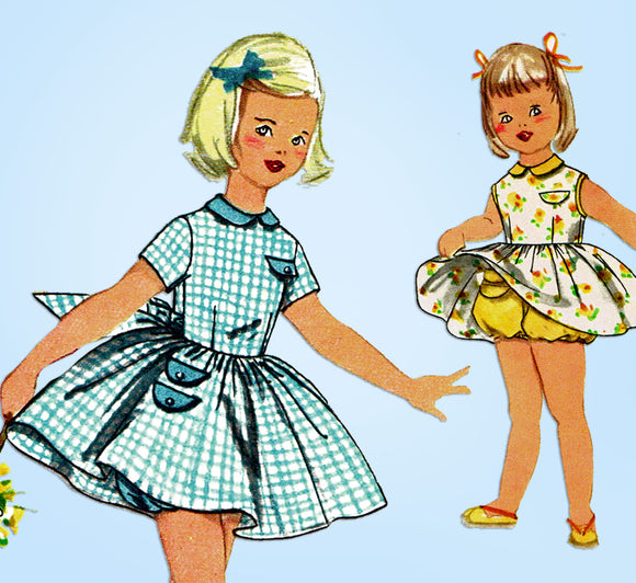 1950s Vintage Simplicity Sewing Pattern 2059 Cute Baby Girls Bloomer Dress Sz 2 - Vintage4me2