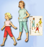 1950s Vintage Simplicity Sewing Pattern 2061 Girls Top & Peddle Pushers Size 6 - Vintage4me2