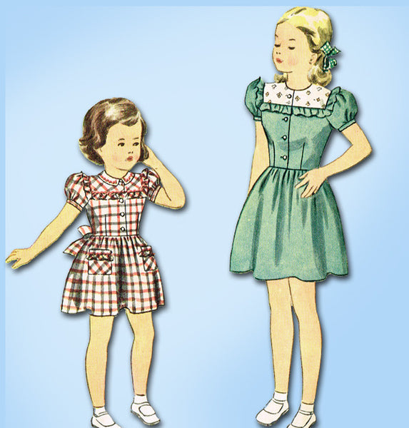 1940s Vintage Simplicity Sewing Pattern 2065 Toddler Girls Day Dress Size 2