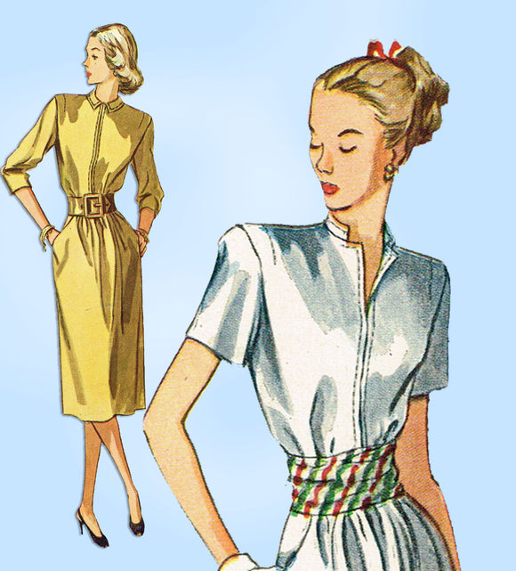 1940s Vintage Simplicity Sewing Pattern 2070 Misses Afternoon Dress Size 34 Bust - Vintage4me2