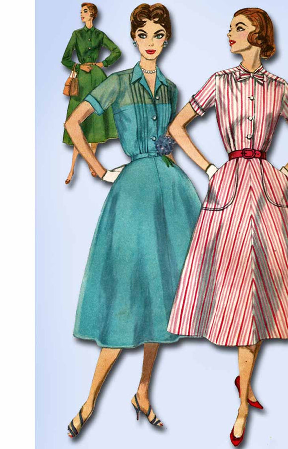 1950s Vintage Simplicity Sewing Pattern 2070 Misses Tucked Dress Size 14 34 Bust