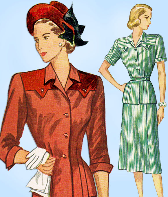 1940s Vintage Simplicity Sewing Pattern 2082 Easy Misses 2 Piece Suit Sz 34 Bust - Vintage4me2