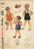 1940s Vintage Simplicity Sewing Pattern 2090 Easy Toddler Boys Romper Size 2 - Vintage4me2