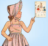 1940s Vintage Simplicity Sewing Pattern 2112 Easy Girls Sun Dress & Bonnet Sz 8 - Vintage4me2