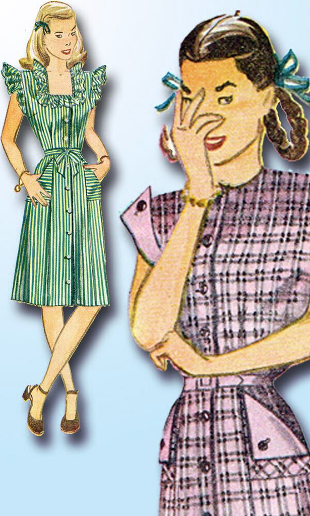 1940s Vintage Simplicity Sewing Pattern 2119 Junior Misses Casual Dress Size 32B