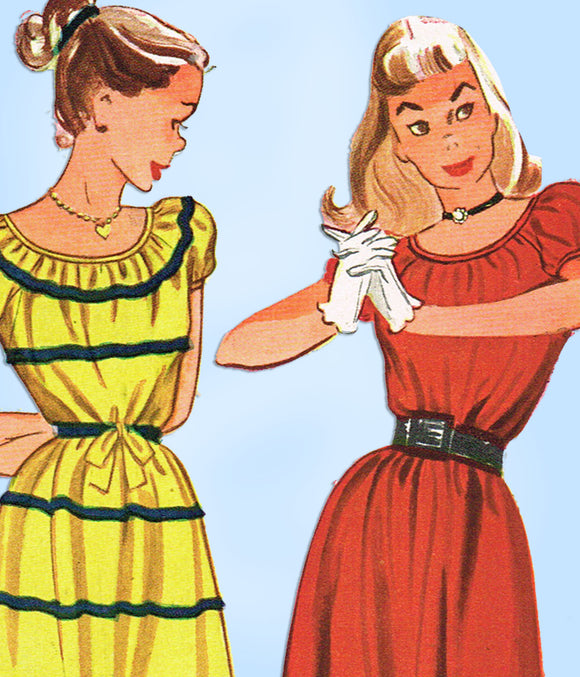 1940s Vintage Simplicity Sewing Pattern 2125 Teen Misses Easy Dress Size 10 28B - Vintage4me2