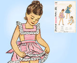 1940s Vintage Simplicity Sewing Pattern 2128 Cute Toddler Girls Sun Dress Size 6 - Vintage4me2