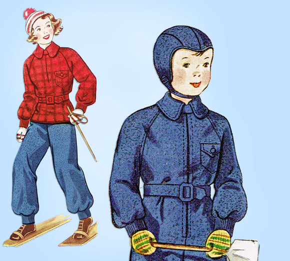 1930s Vintage Simplicity Sewing Pattern 2138 Cute Toddler Boys Snow Suit Size 2 - Vintage4me2