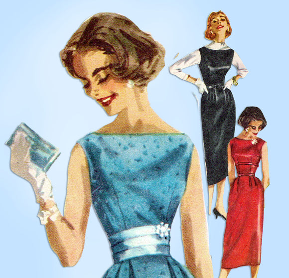 1950s Vintage Simplicity Sewing Pattern 2144 Misses Easy Cocktail Dress Sz 36 B - Vintage4me2
