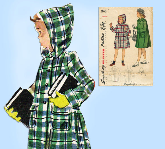 1940s Vintage Simplicity Sewing Pattern 2145 Cute Girls Hooded Coat Size 8