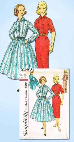 1950s Vintage Simplicity Sewing Pattern 2149 Uncut Misses Shirtwaist Dress 34B