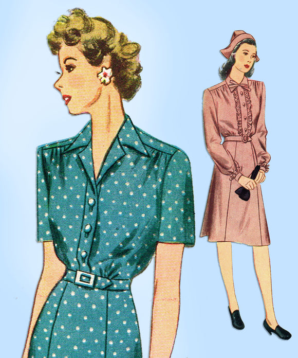 1940s Vintage Simplicity Sewing Pattern 2159 Charming Misses Shirtwaist Dress 14 - Vintage4me2