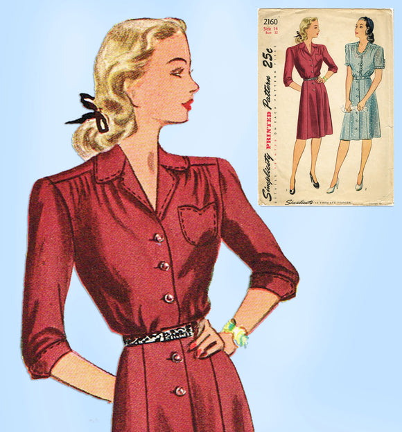 1940s Vintage Simplicity Sewing Pattern 2160 Misses Shirtwaist Dress Sz 32 Bust - Vintage4me2