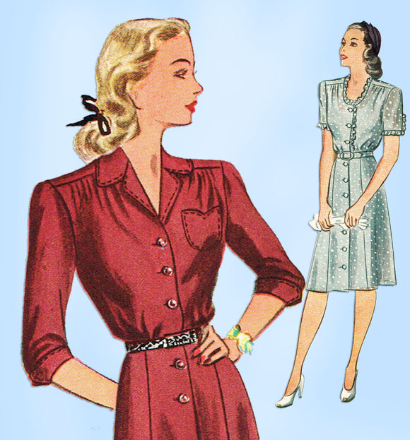 1940s Vintage Simplicity Sewing Pattern 2160 Misses Shirtwaist Dress Sz 34 Bust - Vintage4me2