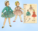 1950s Vintage Simplicity Sewing Pattern 2161 Cute Toddler Girls Dress Size 4 - Vintage4me2