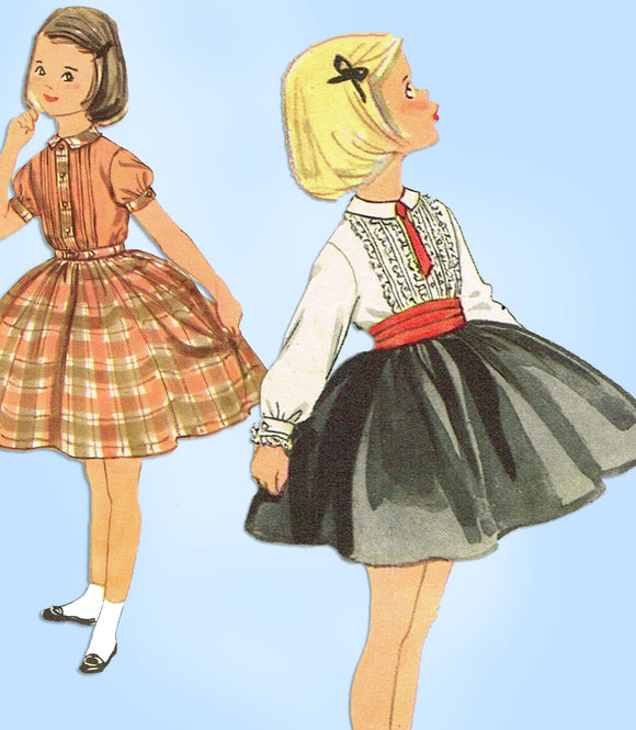 1950s Vintage Simplicity Sewing Pattern 2162 Toddler Girls Tucked Dress Sz 4 - Vintage4me2