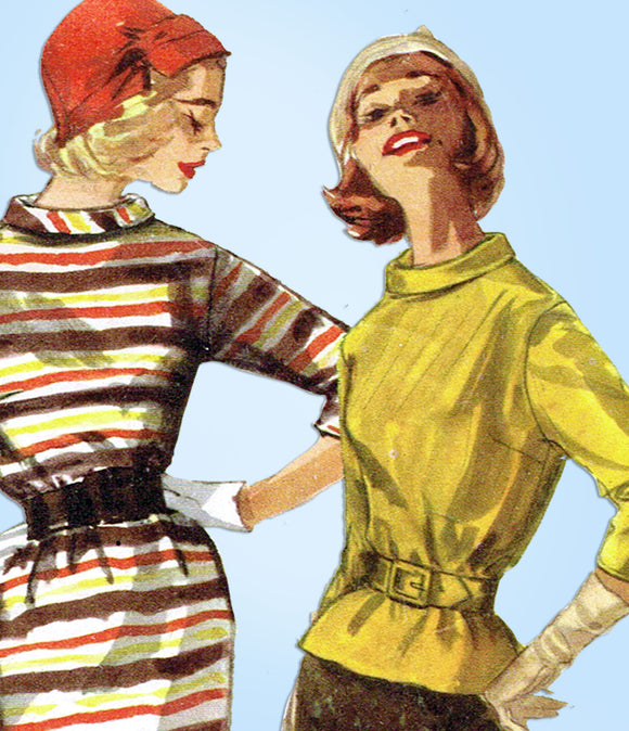 1950s Vintage Simplicity Sewing Pattern 2173 Uncut Misses 1 or 2 PC Dress Sz 33B - Vintage4me2