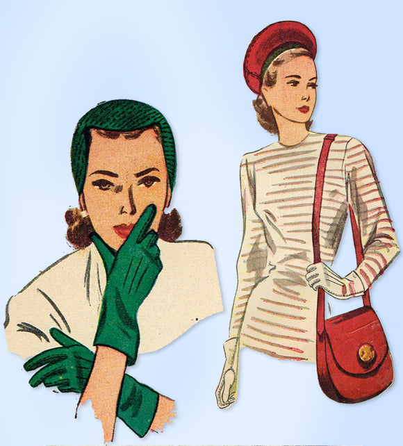 1940s Original Vintage Simplicity Pattern 2173 Misses Hat Gloves Purse Set