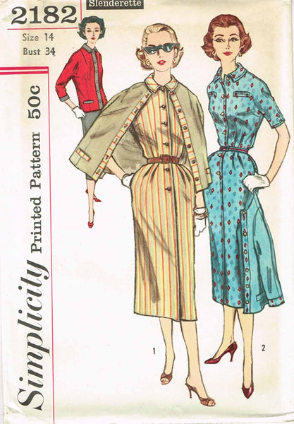 1950s Vintage Simplicity Sewing Pattern 2182 Uncut Misses Dress and Cardigan 34B
