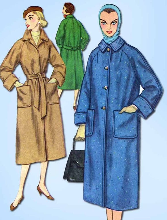 1950s Vintage Simplicity Sewing Pattern 2187 Uncut Misses Trench Coat Size 14
