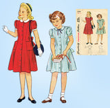 1940s Vintage Simplicity Sewing Pattern 2194 Cute Girls Princess Dress Size 12 - Vintage4me2