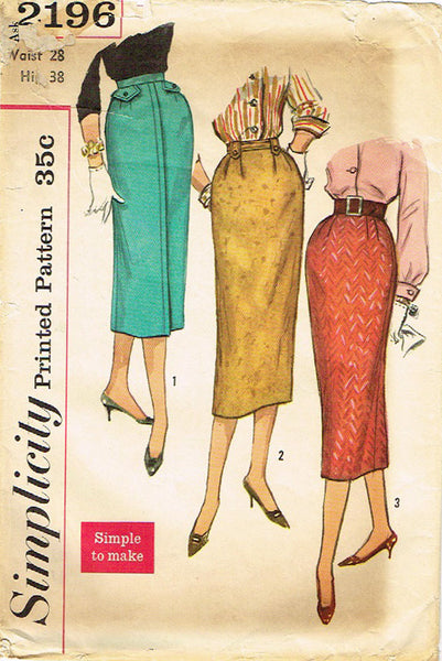 1950s Vintage Simplicity Sewing Pattern 2196 Easy Misses Slender Skirt Size 28W