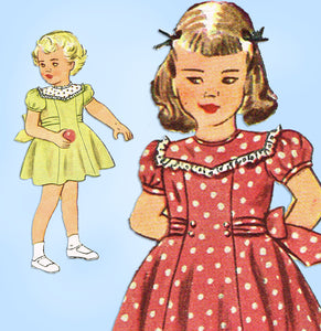 1940s Vintage Simplicity Sewing Pattern 2197 Toddler Girls Princess Dress Size 3 - Vintage4me2