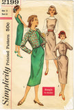1950s Vintage Simplicity Sewing Pattern 2199 Uncut Misses Dress & Jacket Sz 32 B - Vintage4me2