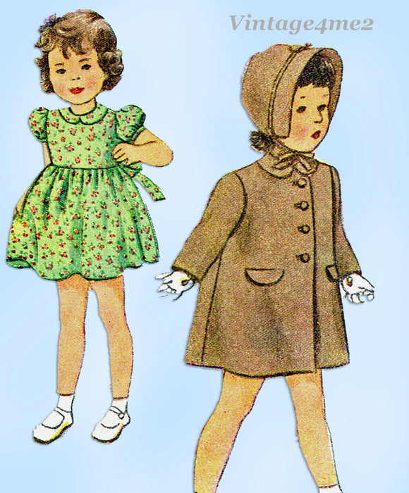 1940s Vintage Simplicity Sewing Pattern 2200 Baby Girls Dress Coat & Bonnet Sz 2