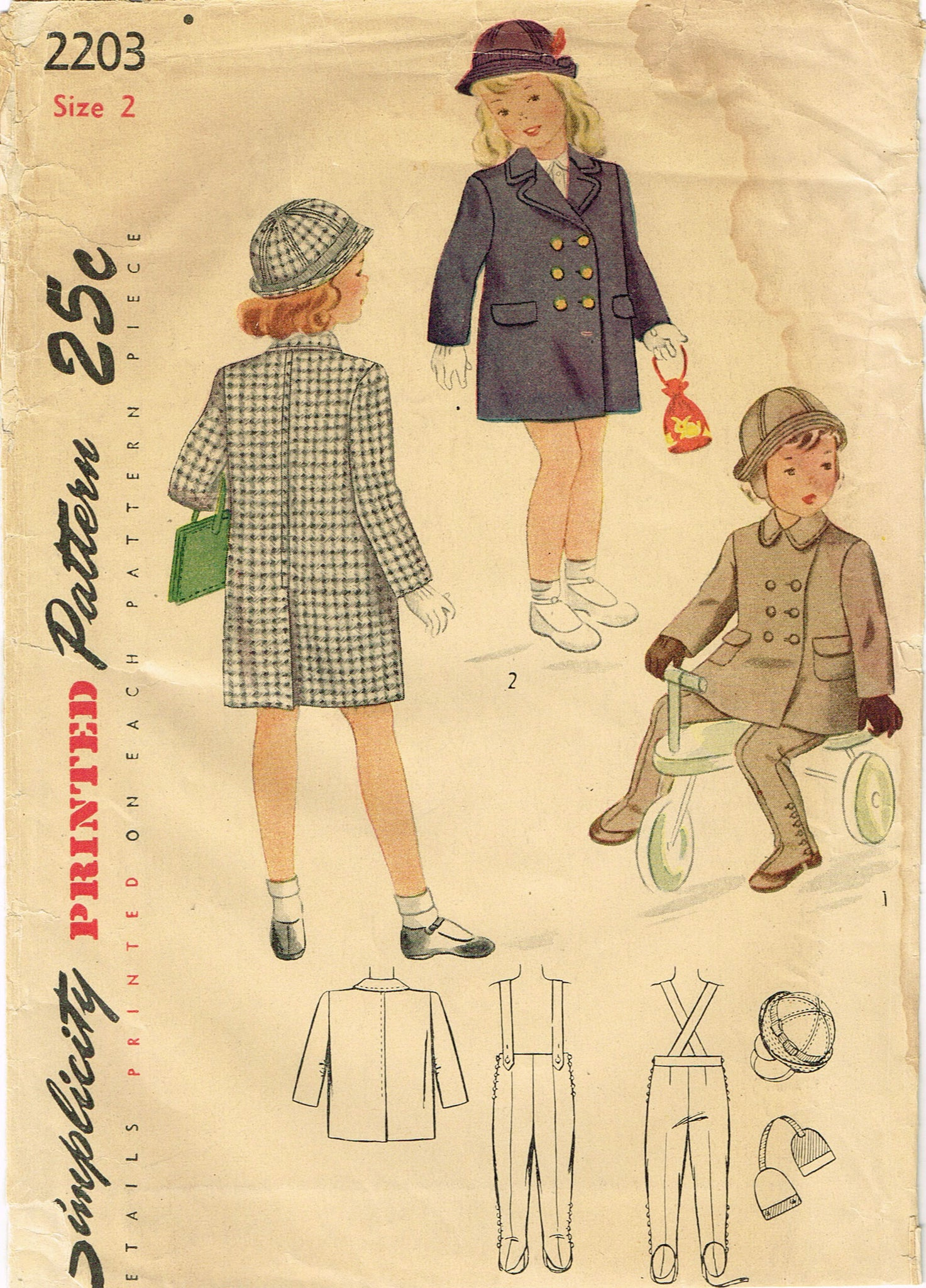 1940s Vintage Simplicity Sewing Pattern 2203 Uncut Toddler