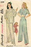 1940s Vintage Simplicity Sewing Pattern 2208 Misses Two Piece Pajamas Size 32 B - Vintage4me2