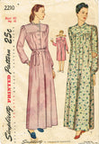 1940s Vintage Simplicity Sewing Pattern 2210 Plus Size Womens Nightgown 40 Bust - Vintage4me2