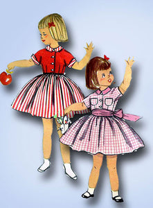 1950s Vintage Simplicity Sewing Pattern 2210 Toddler GIrls Dress Easy! Size 6