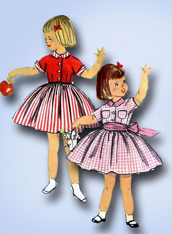 1950s Vintage Simplicity Sewing Pattern 2210 Toddler Girls Simple Dress Size 3