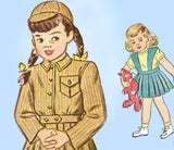 1940s Vintage Simplicity Sewing Pattern 2218 Baby Girls Suit w Battle Jacket Sz 1 - Vintage4me2