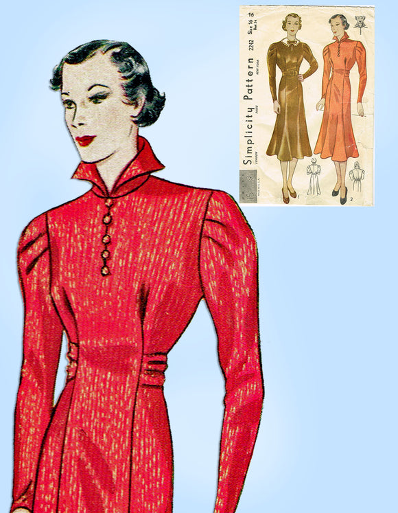 1930s Vintage Simplicity Sewing Pattern 2242 Misses Princess Dress Size 34 Bust - Vintage4me2