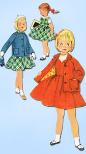 1950s Vintage Simplicity Sewing Pattern 2246 Toddler Girls Suit Easy to Make Sz4