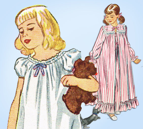 1940s Vintage Simplicity Sewing Pattern 2250 Toddler Girls Robe & Nighty Size 4