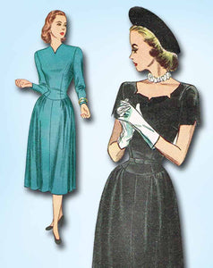 1940s Vintage Simplicity Sewing Pattern 2255 FF Misses Afternoon Dress Size 14