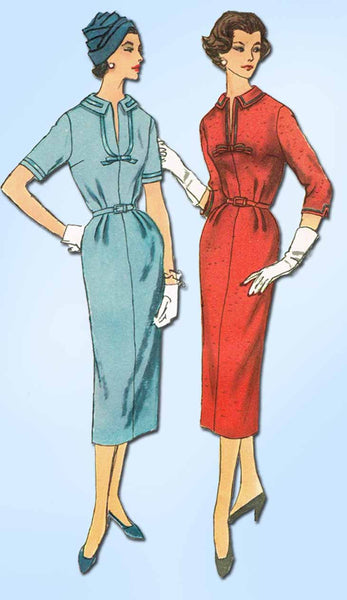 1950s Vintage Simplicity Sewing Pattern 2265 Uncut Misses Slenderette Dress 33 B