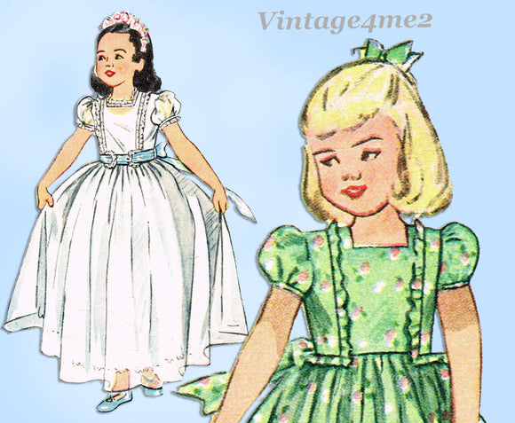 1940s Vintage Simplicity Sewing Pattern 2267 Easy Toddler Girls Dress Size 2