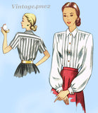 1940s Vintage Simplicity Sewing Pattern 2277 Easy Misses Tucked Blouse Sz 12 30B