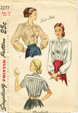 1940s Vintage Simplicity Sewing Pattern 2277 Easy Misses Tucked Blouse Sz 16 34 B