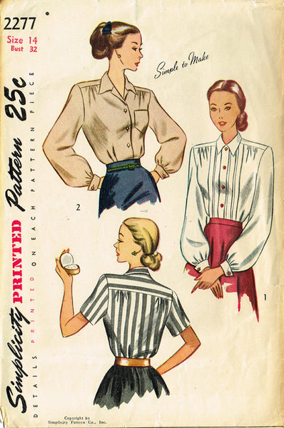 1940s Vintage Simplicity Sewing Pattern 2277 Simple Misses Tucked Blouse Size 14