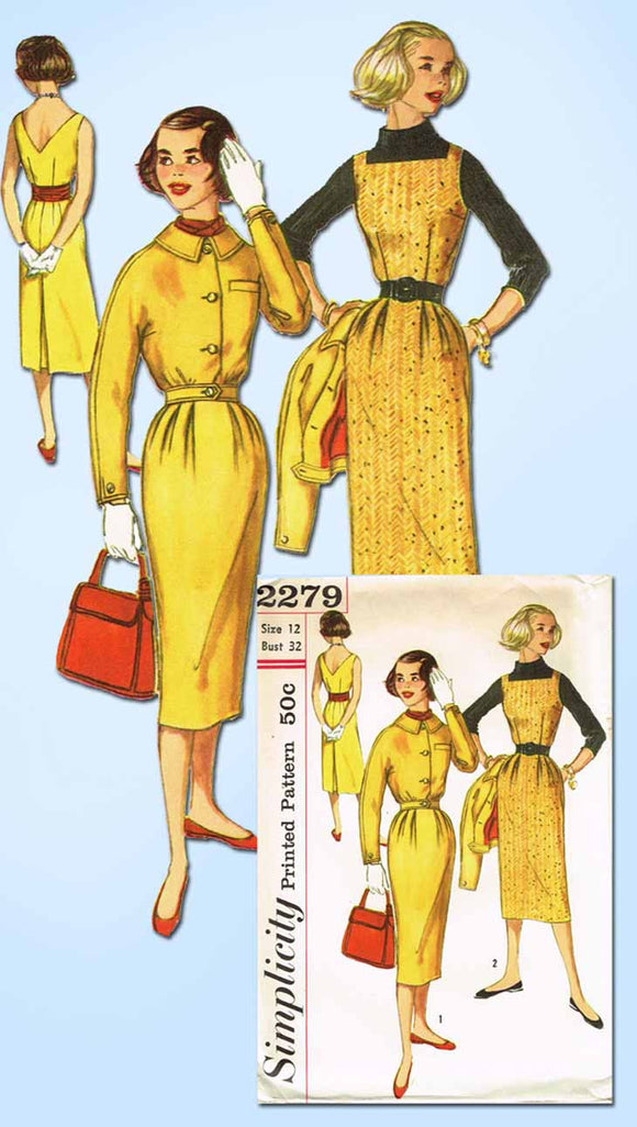 1950s Vintage Simplicity Sewing Pattern 2279 Uncut Misses Dress or Jumper Sz 12
